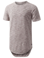 BROWN 2 Tone Weaved Longline Tshirt - URBANCREWS