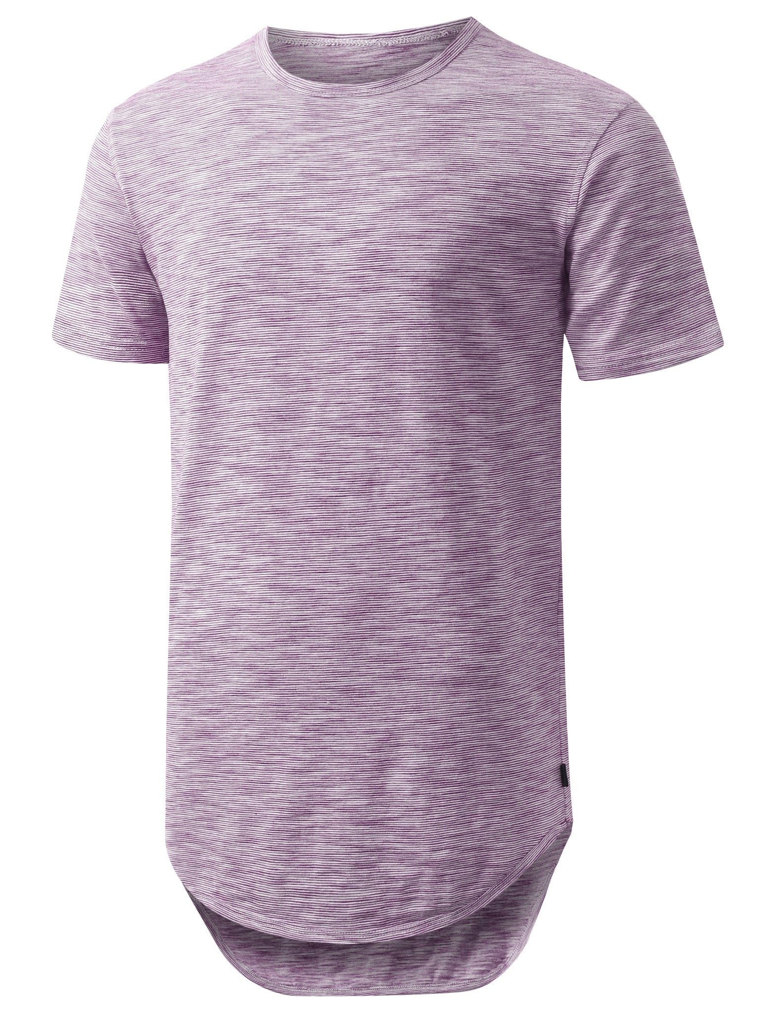 PURPLE 2 Tone Weaved Longline Tshirt - URBANCREWS