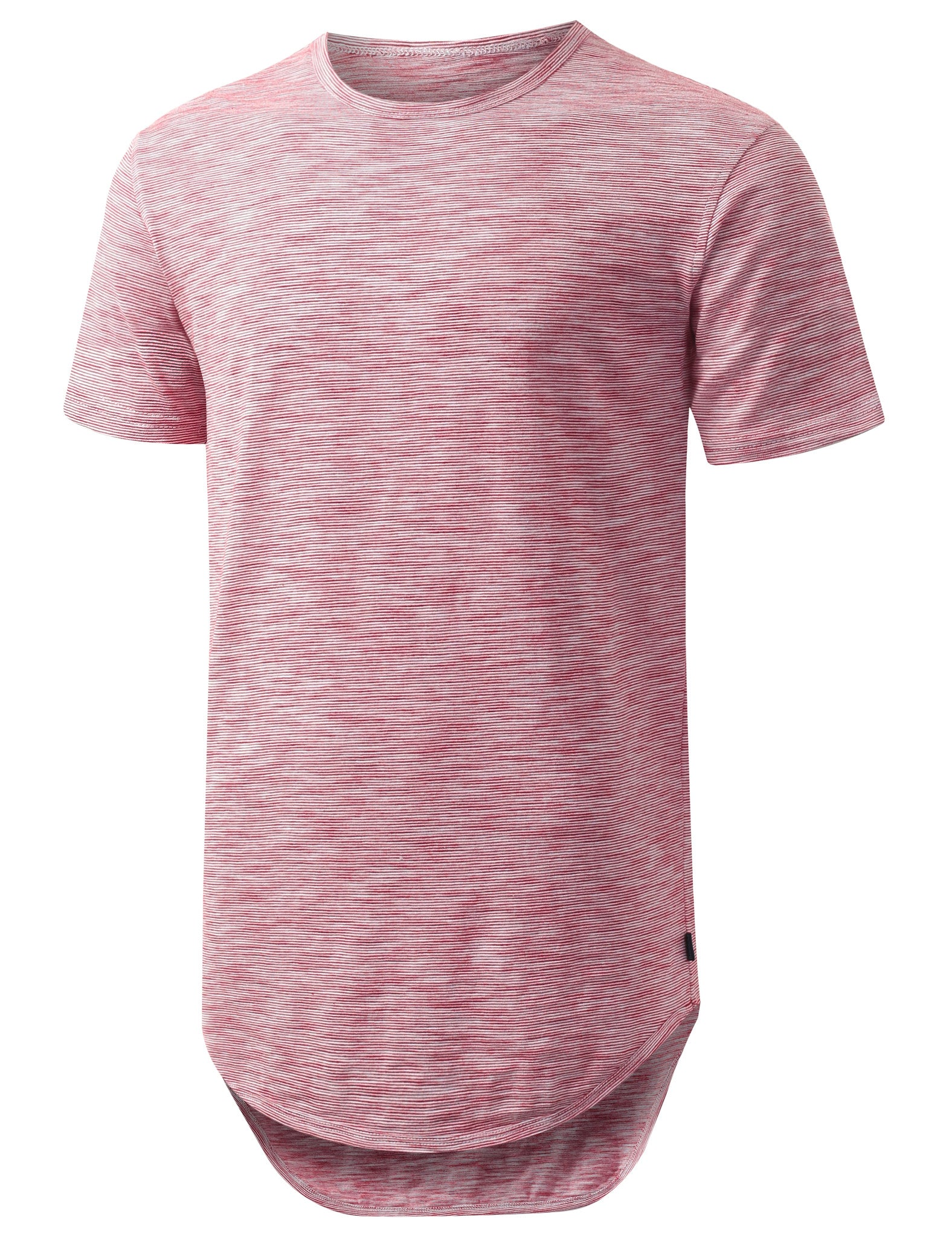RED 2 Tone Weaved Longline Tshirt - URBANCREWS