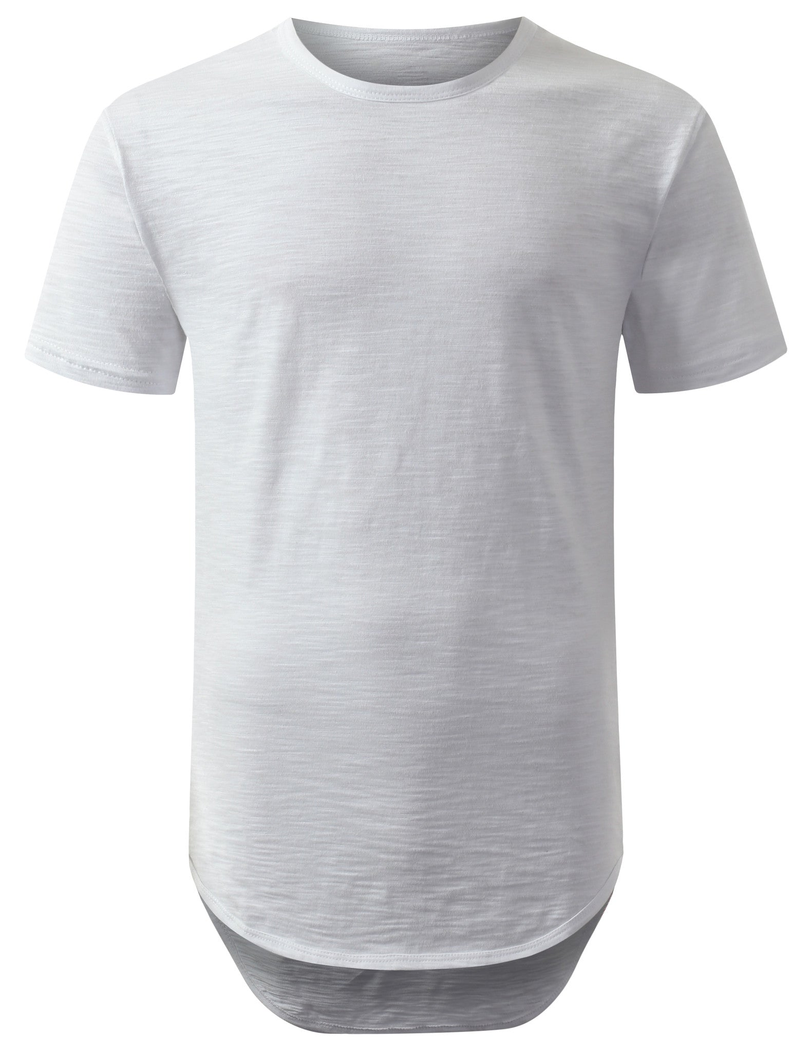 WHITE 2 Tone Weaved Longline Tshirt - URBANCREWS