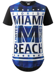 WHITE Miami Beach Quilted Longline Tshirt - URBANCREWS