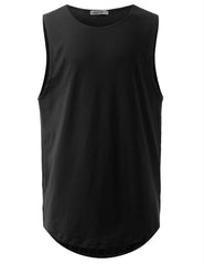 BLACK Basic Longline Muscle Tank Top Tee - URBANCREWS