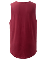 BURGUNDY Basic Longline Muscle Tank Top Tee - URBANCREWS
