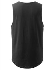 CHARCOAL Basic Longline Muscle Tank Top Tee - URBANCREWS
