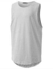 LTGRAY Basic Longline Muscle Tank Top Tee - URBANCREWS