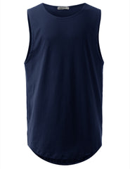 NAVY Basic Longline Muscle Tank Top Tee - URBANCREWS