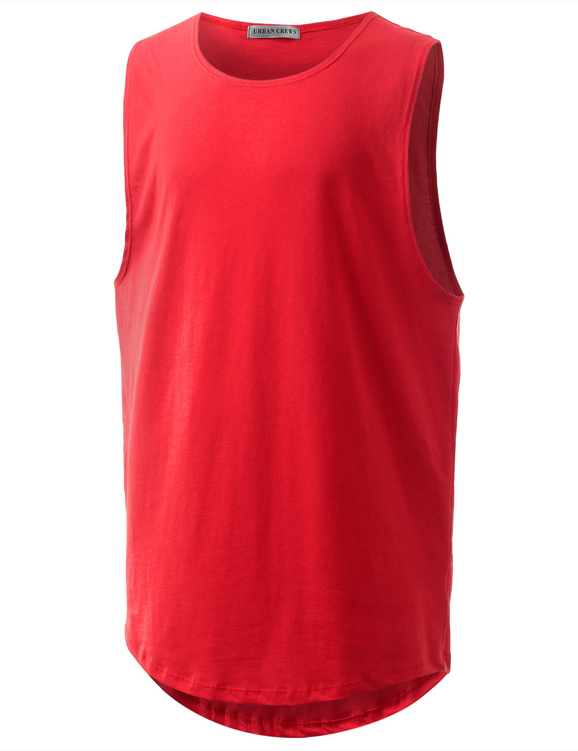 RED Basic Longline Muscle Tank Top Tee - URBANCREWS