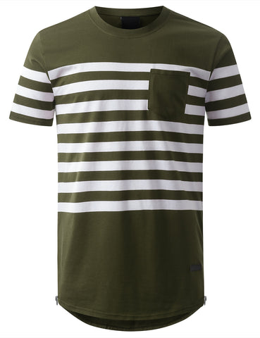 Stripe Longline Tshirt with Side Zippers