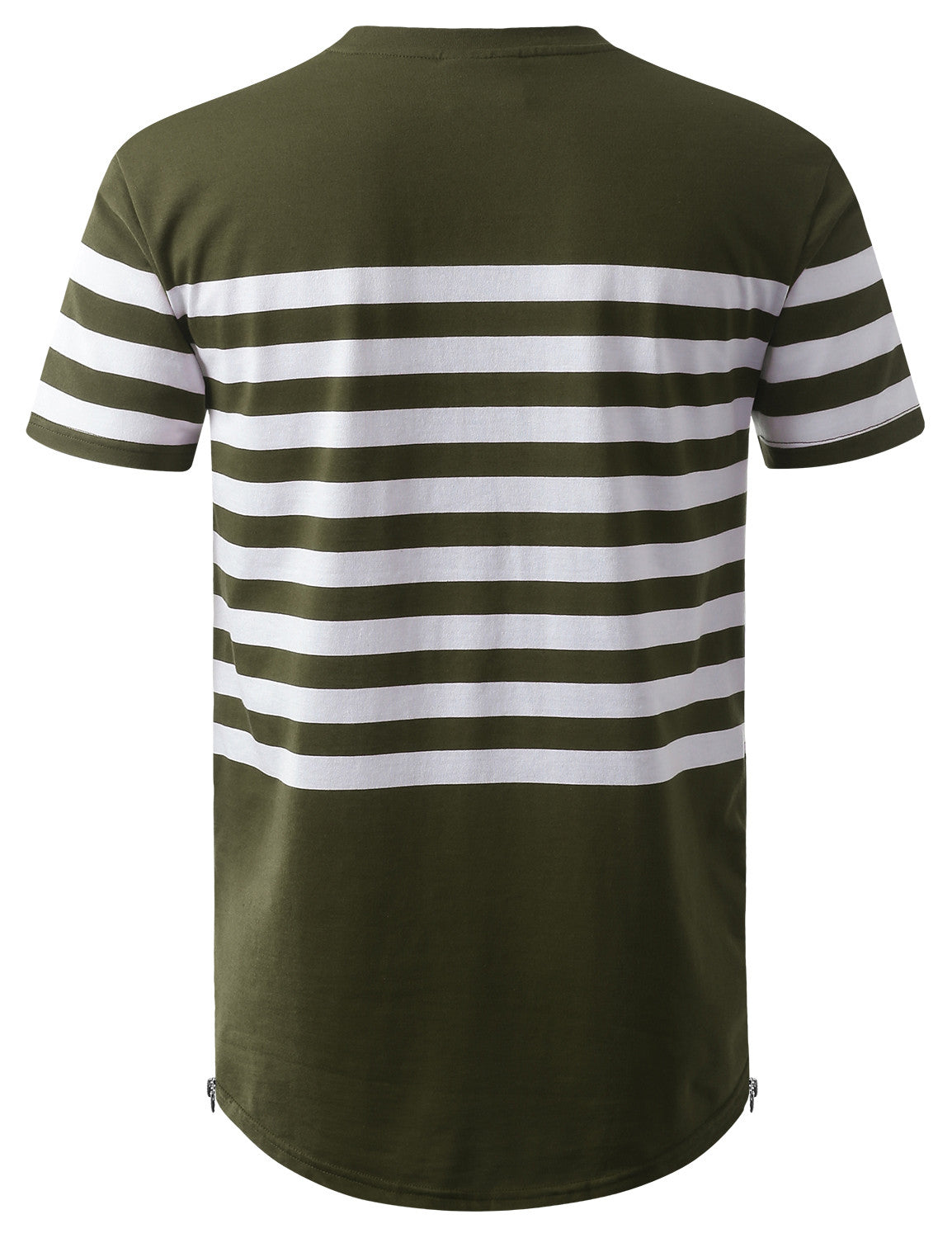 OLIVE Stripe Longline Tshirt with Side Zippers - URBANCREWS