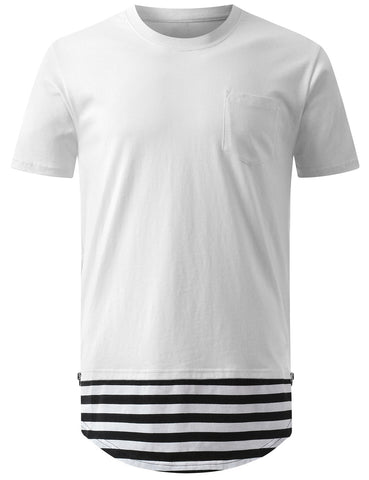 Stripe Hem Longline Tshirt with Side Zipper