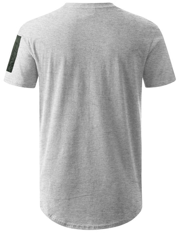 Nylon Trim Shoulder Pocket Longline Tshirt