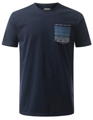 NAVY Patterned Knitten Pocket Tshirt - URBANCREWS