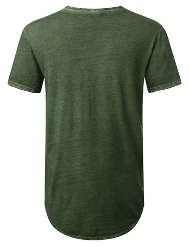 Washed Oil Raw Edge Pocket Longline Tshirt