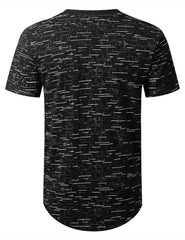 BLACK Color Texture Longline Tshirt - URBANCREWS