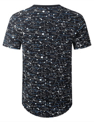 NAVY Color Texture Longline Tshirt - URBANCREWS