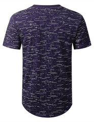 PURPLE Color Texture Longline Tshirt - URBANCREWS