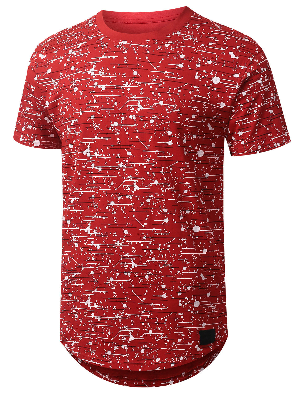 RED Color Texture Longline Tshirt - URBANCREWS