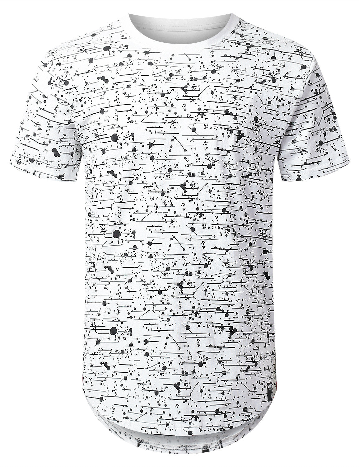 WHITE Color Texture Longline Tshirt - URBANCREWS
