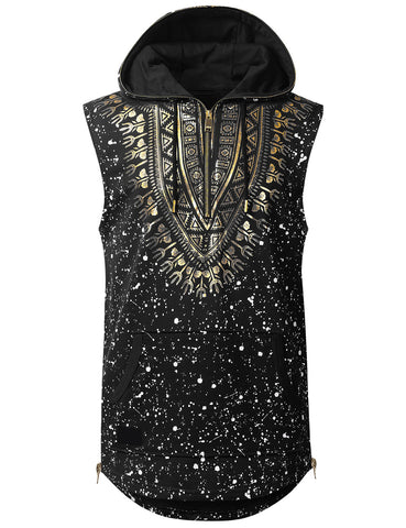 Dashiki Sleeveless Hoodie Shirt