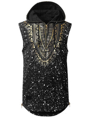 BLACK Dashiki Sleeveless Hoodie Shirt - URBANCREWS