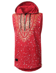 RED Dashiki Sleeveless Hoodie Shirt - URBANCREWS