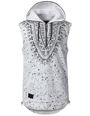 WHITE Dashiki Sleeveless Hoodie Shirt - URBANCREWS