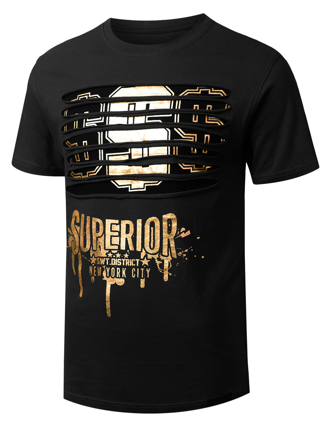 BLACK Dollar Gold Ripped Crewneck T-shirt - URBANCREWS