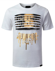 WHITE Dollar Gold Ripped Crewneck T-shirt - URBANCREWS