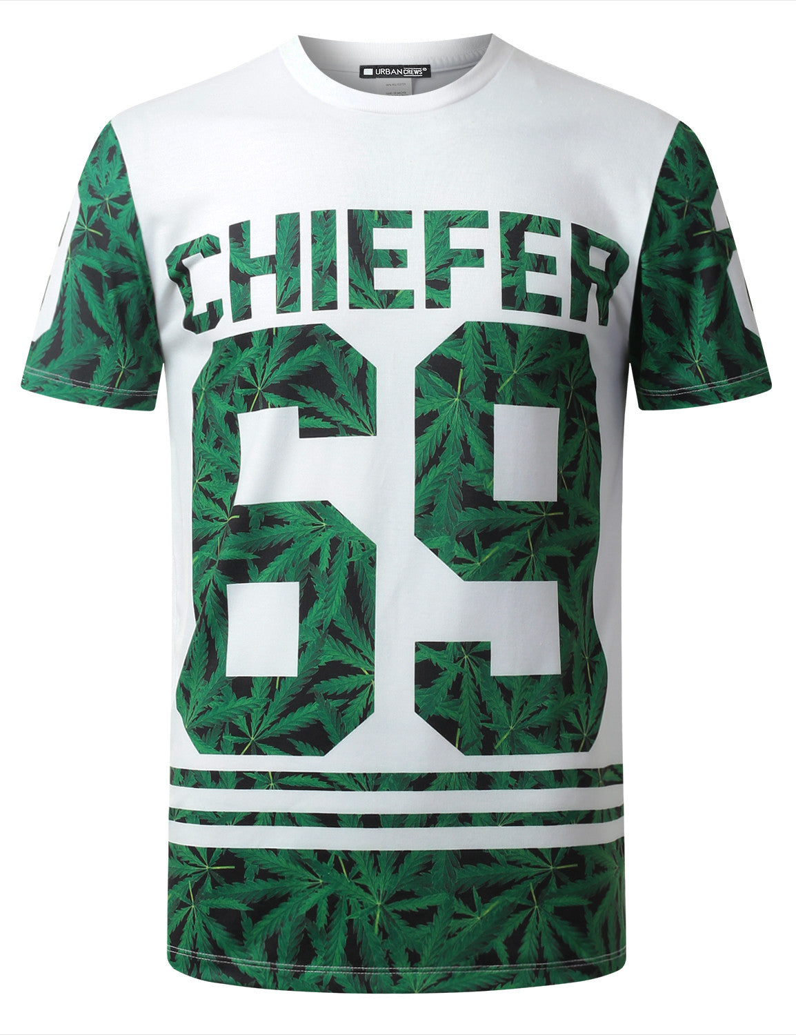 WHITE Chiefer 69 Leaf Crewneck Tshirt - URBANCREWS
