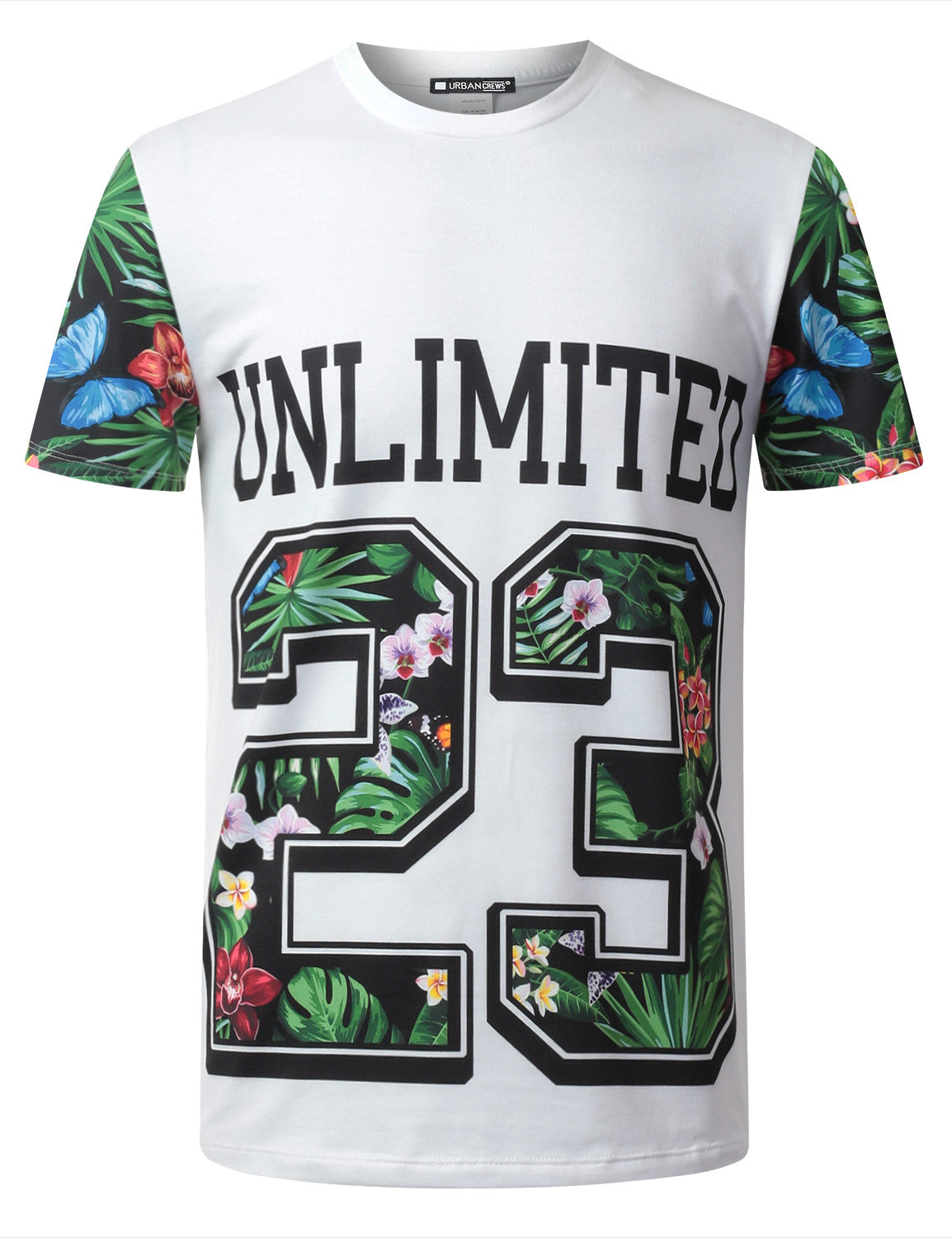 WHITE Unlimited 23 Floral Crewneck Tshirt - URBANCREWS
