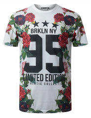 WHITE Brooklyn 95 Floral Crewneck Tshirt - URBANCREWS
