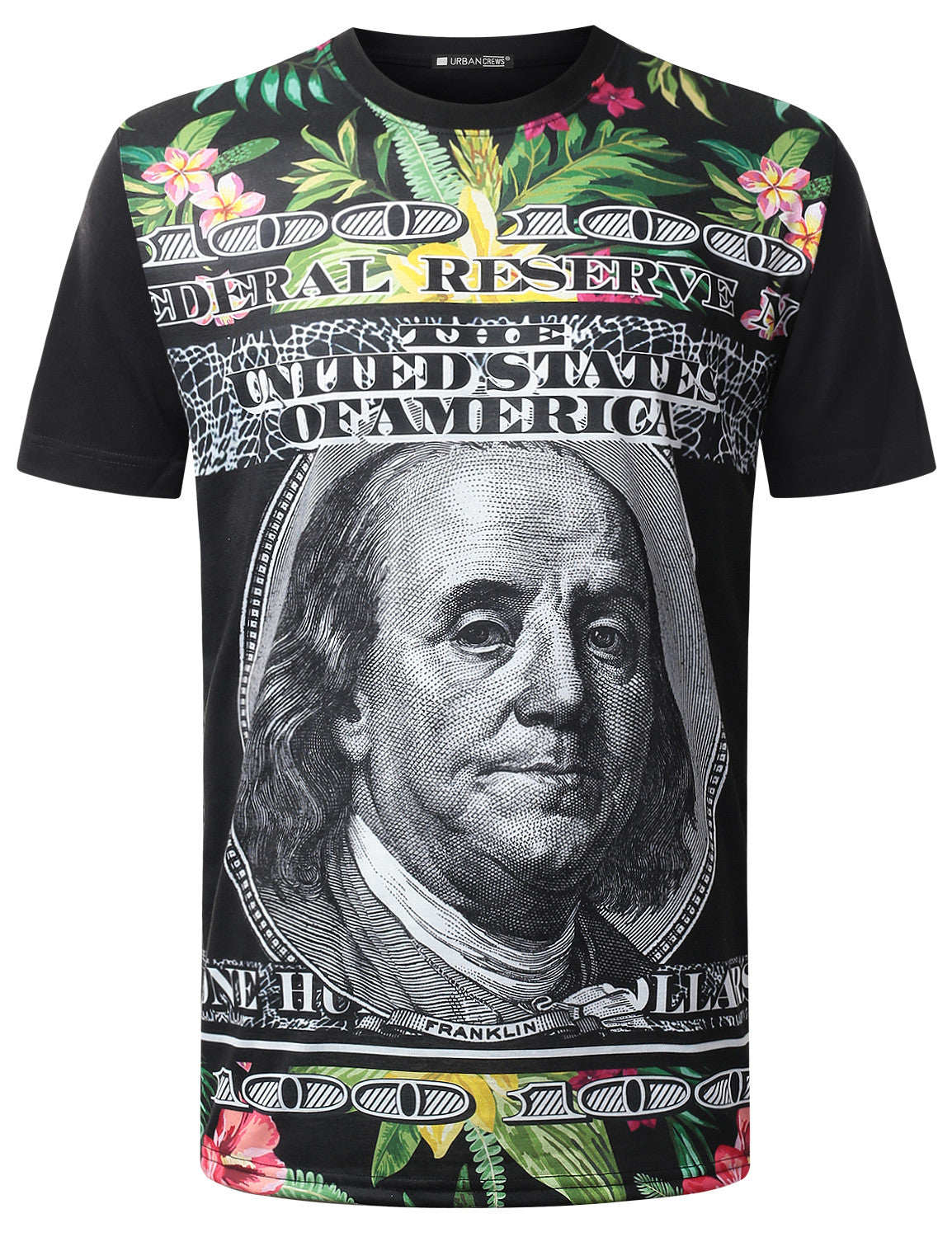 BLACK Floral US Bills Crewneck Tshirt  - URBANCREWS