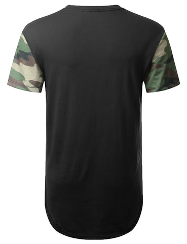 Color Block Camo Longline Tshirt