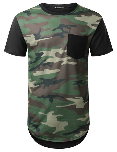 BLACK Camo Longline Pocket Tshirt  - URBANCREWS