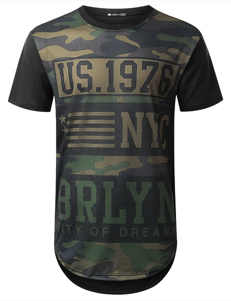 BLACK USA Army Camo Longline Tshirt  - URBANCREWS