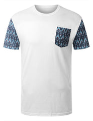 WHITE Zulu Tribal Pattern Pocket Tshirt - URBANCREWS