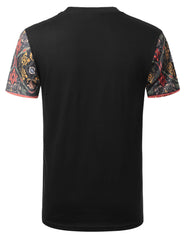BLACK Floral Paisley Pattern Pocket Tshirt - URBANCREWS