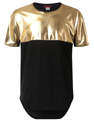 PU Leather Panel Longline Tshirt
