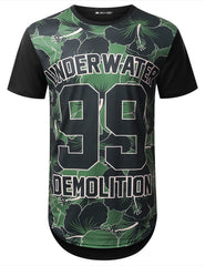 BLACK Underwater 99 Camo Longline T-shirt - URBANCREWS