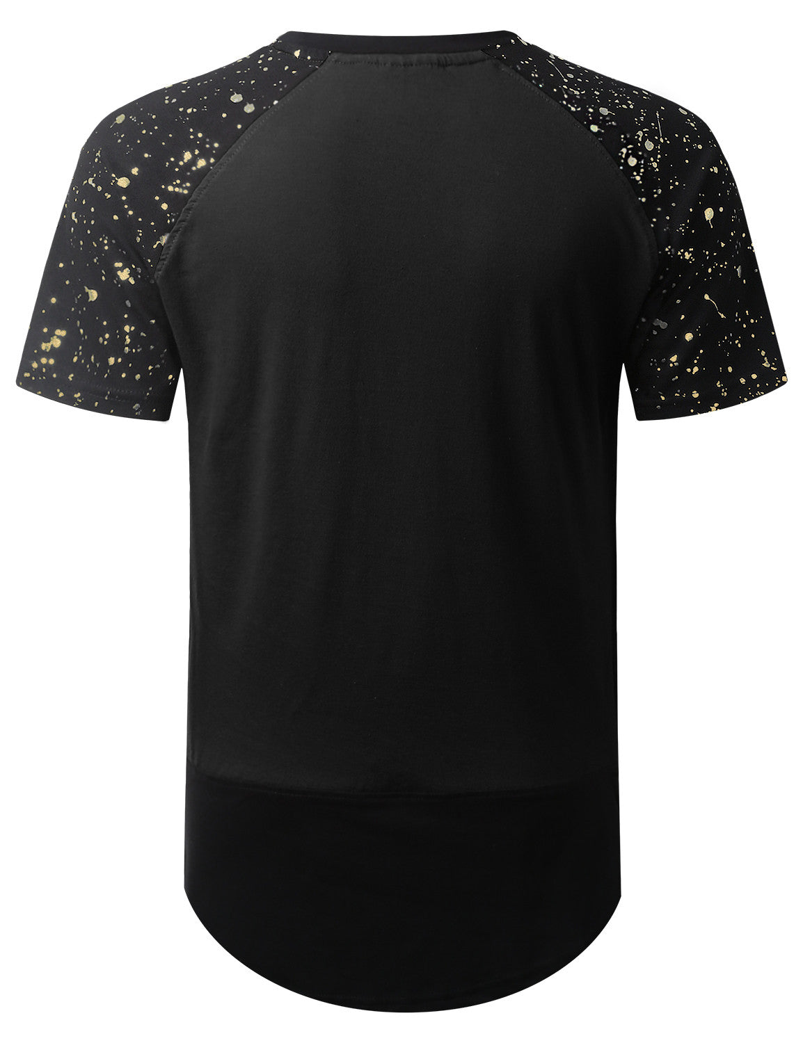 BLACK Splatter Ripped Raglan Longline T-shirt - URBANCREWS