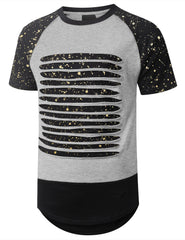 HGRAY Splatter Ripped Raglan Longline T-shirt - URBANCREWS