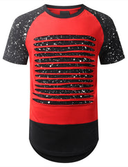 RED Splatter Ripped Raglan Longline T-shirt - URBANCREWS