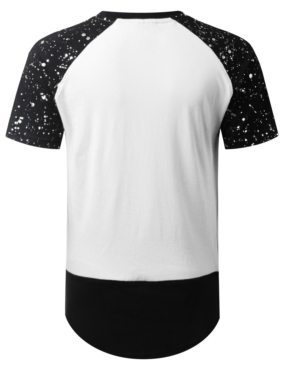 WHITE Splatter Ripped Raglan Longline T-shirt - URBANCREWS