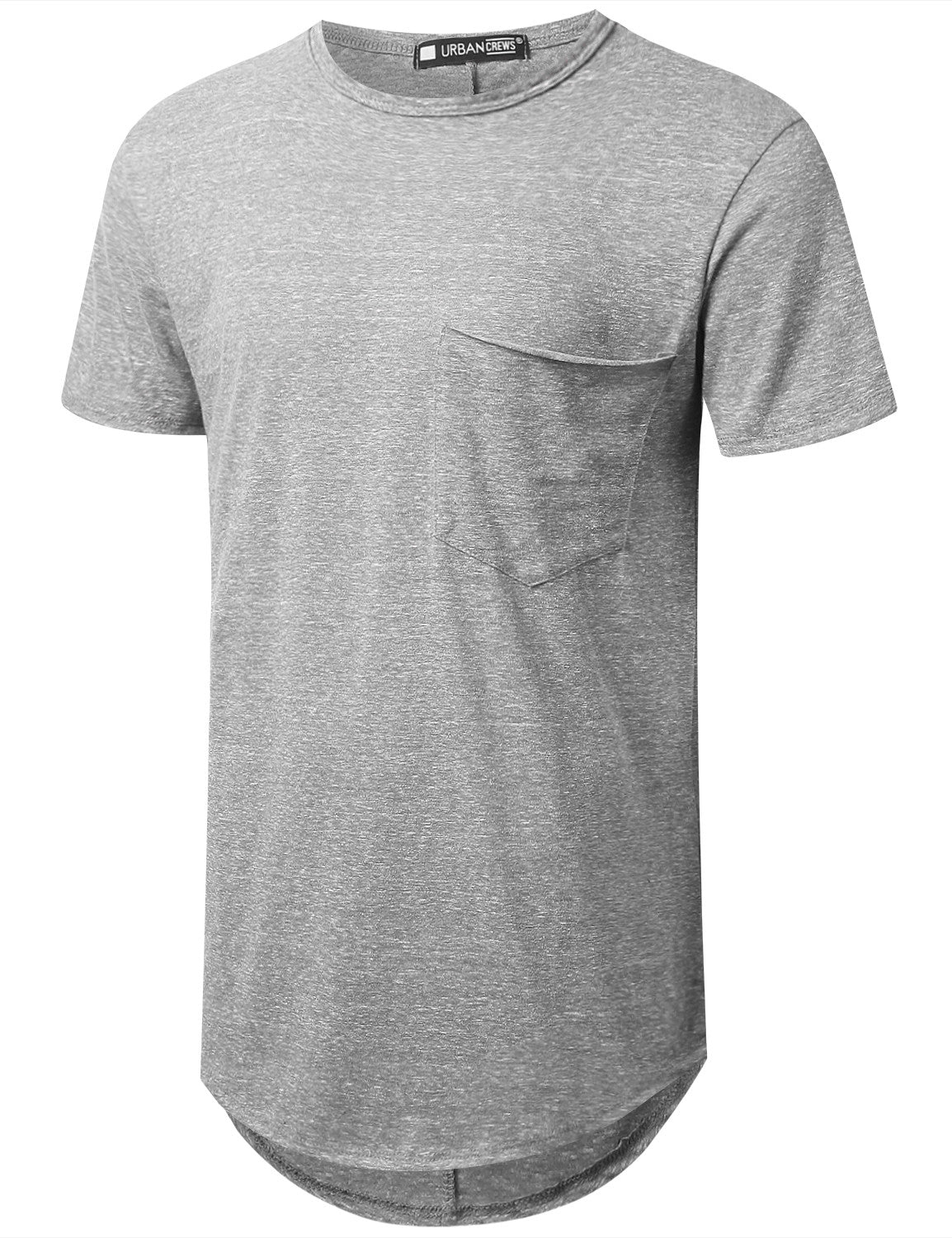GRAY Melange Longline Pocket T-shirt - URBANCREWS