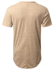 KHAKI Melange Longline Pocket T-shirt - URBANCREWS