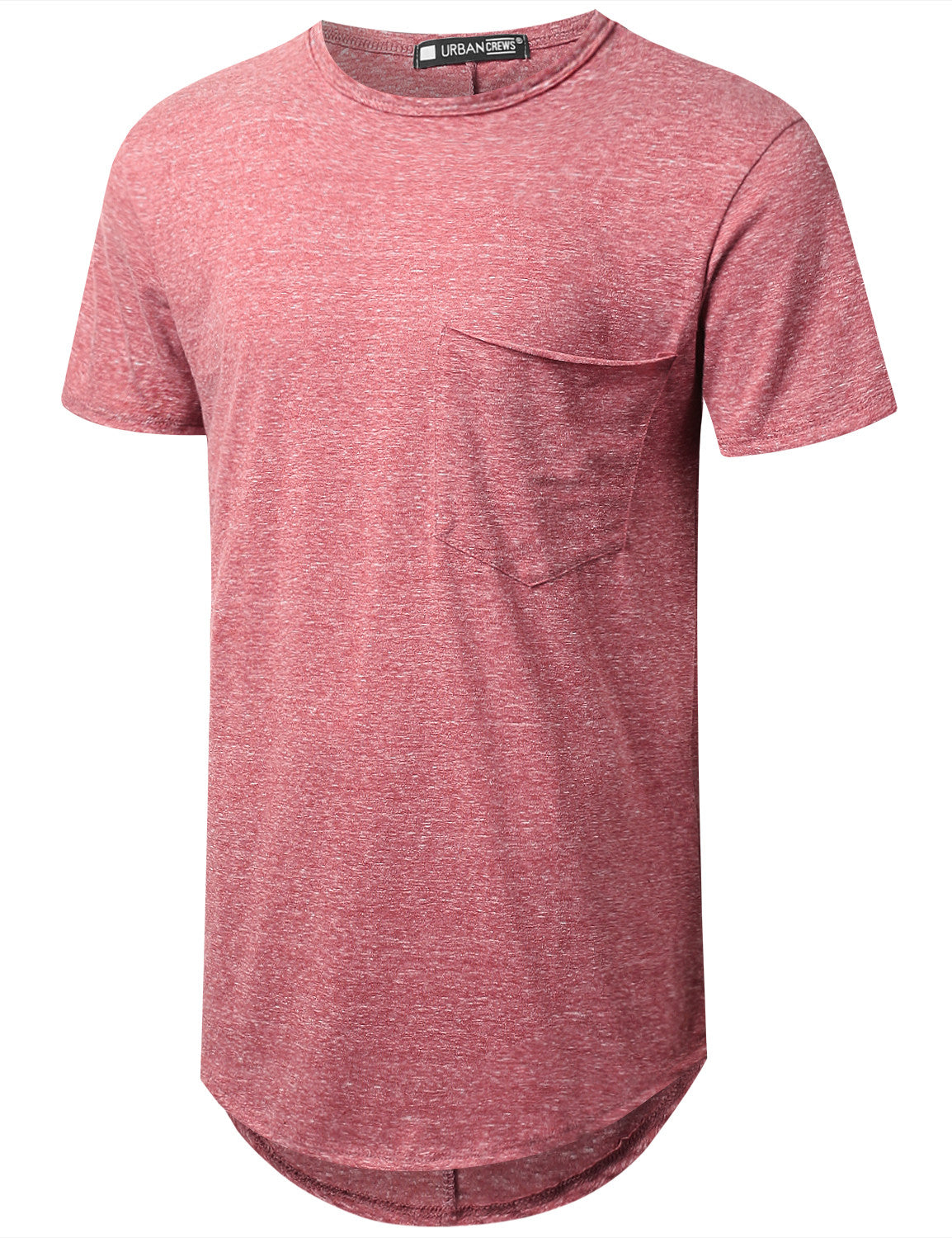 LTBURGUNDY Melange Longline Pocket T-shirt - URBANCREWS