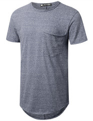 NAVY Melange Longline Pocket T-shirt - URBANCREWS