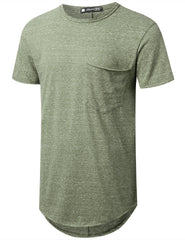 OLIVE Melange Longline Pocket T-shirt - URBANCREWS