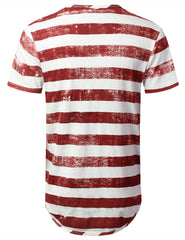 RED Faded Striped Longline T-shirt - URBANCREWS
