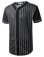 BLACK Striped Baseball Jersey T-shirt - URBANCREWS